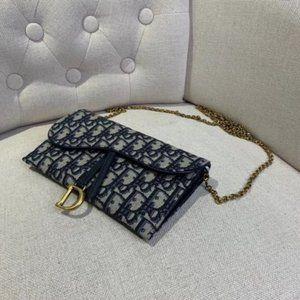 ⭕Christian Dior Oblique Saddle Chain Wallet Blue